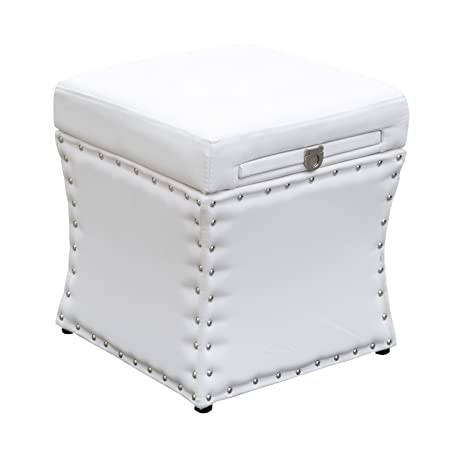 Perfect HomCom 18u0026quot; Modern Storage Ottoman W/ Pull Out Drink Board   White