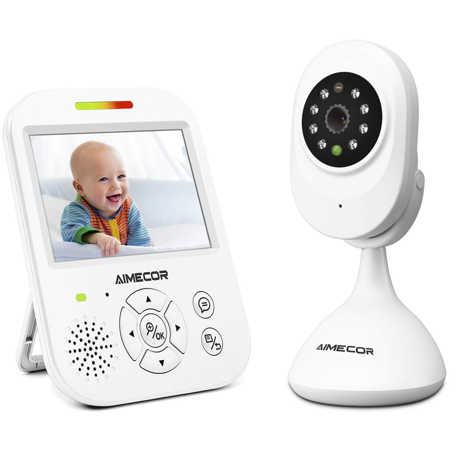 Video Baby Monitor with Camera - 3.5 inch IPS Display, HD Night Vision Camera, 960ft Transmission Range, Temperature Monitoring,Include Compatible Mount Shelf AIMECOR