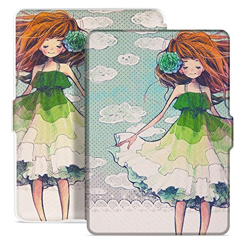 Ayotu Colorful Case for Kindle Paperwhite Auto Wake/Sleep Smart Protective Cover-Fits All Paperwhite Generations Prior to 2018(Not Fit All-New Kindle Paperwhite 10th Gen) K5-08 White Shell Skirt Girl