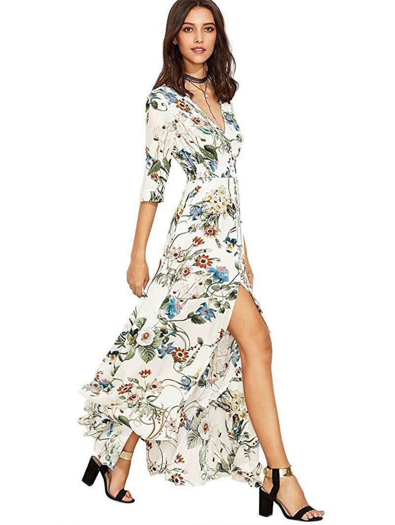 Blanc QLJ02 Robe d'été pour Femme bohème élégante Longue Robe de Plage Longue Robe Noire midi Vert Floral Flowy Prairie Maxi Ladies Dress L