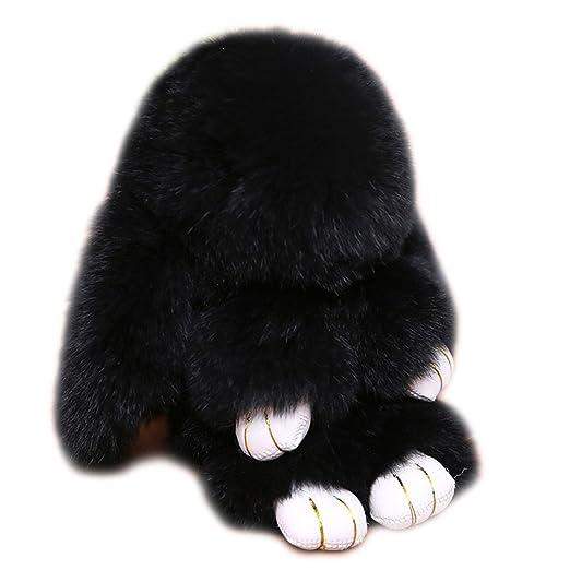 a1ab478dd0 URSFUR Easter Bunny Doll Keychain Rabbit Fur Pom Key Chain Car Bag Charm  Pendant Women Handbag