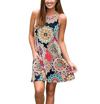 low priced 0a251 f8365 Queque Shine Damen Maxi Kleider Sommerkleider Vintage Boho ...