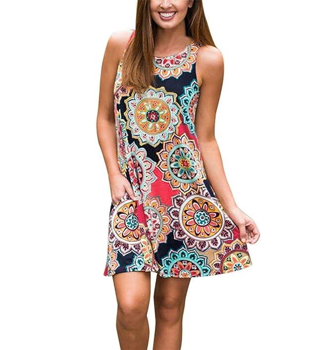8617c10ec78c Queque Shine Damen Maxi Kleider Sommerkleider Vintage Boho Blumen Kleid  Neckholder Printkleider Partykleider Strandkleider Minikleid Große