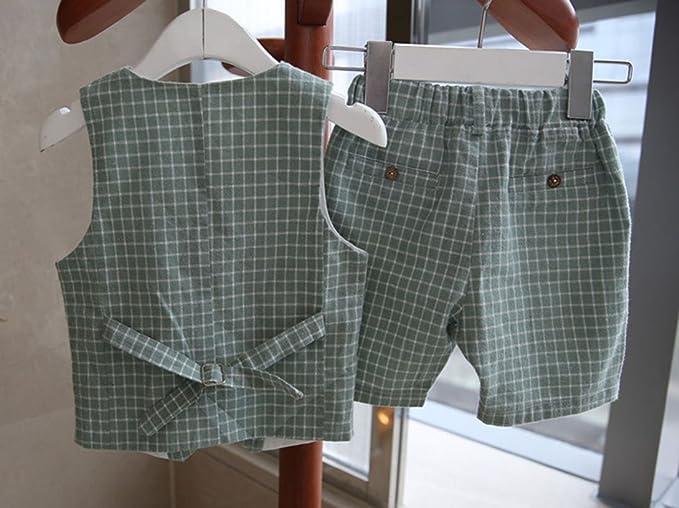 Vdual 2 PCS Vestito Abito Completo Bambino Ragazzo Gilet + Pantaloni  Vestito Completino Elegante Abiti da cerimonia per uomo 15f6a721dba