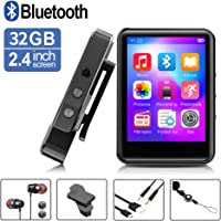 FDY 332GB Portable Music Player with Bluetooth/FM Radio/Recorder for Running, Expandable 128GB TF Card (Black)