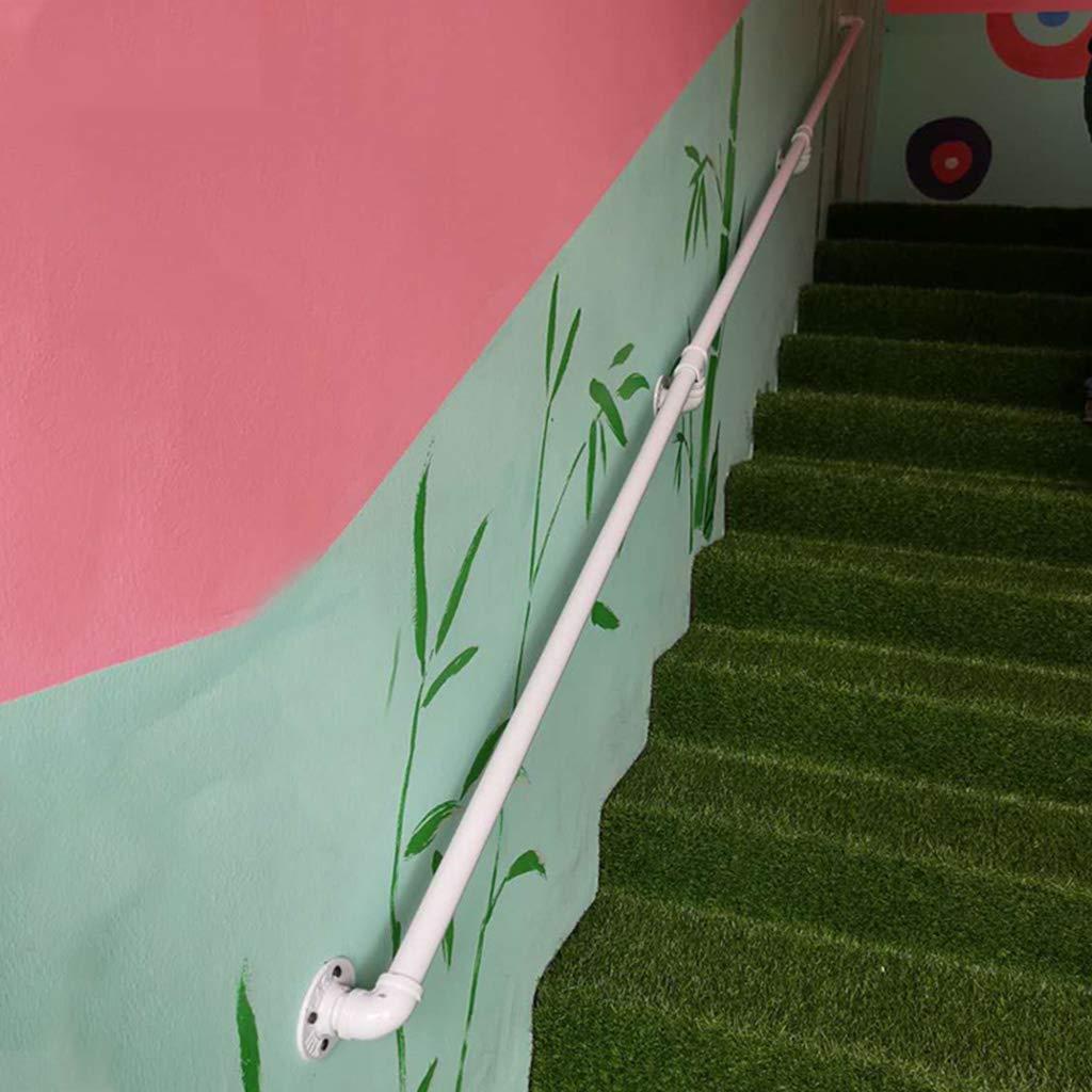 pasamanos de escaleras de Hierro Forjado Longitud: 50 cm-500 cm Opcional Reposabrazos de Tubo de Viento Industrial Blanco para /ático Interior de Pasillo Exterior