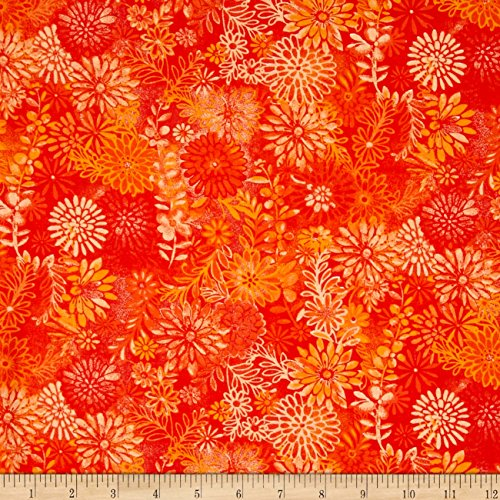 (Santee Print Works 44in Wide Quilt Packed Floral Orange Fabric by The Yard,)