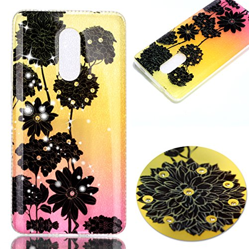 Price comparison product image Xiaomi Redmi Note 4X Case, Xiaomi Redmi Note 4X Cover, ikasus Shiny Sparkly Bling Diamond Soft Flexible TPU Rubber Silicone Skin Cover Clear Case for Xiaomi Redmi Note 4X, Black Daisy chrysanthemum