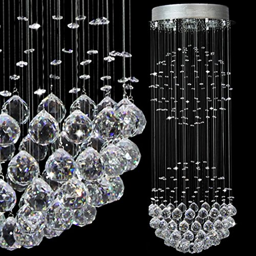 Ella Fashion® LED Modern Contemporary Rain Drop Double Large Crystal Balls Cylinder Flush Mount Ceiling Chandelier Lighting Fixture Lamp for Dining Living Room Foyer Bedroom Kitchen Entry Hallway D15 X H40 Inches 6 Lights