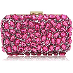 Stunning Rhinestone Party Clutches Cocktail Crossbody Evening Bags For Women (Watermelon Pink)