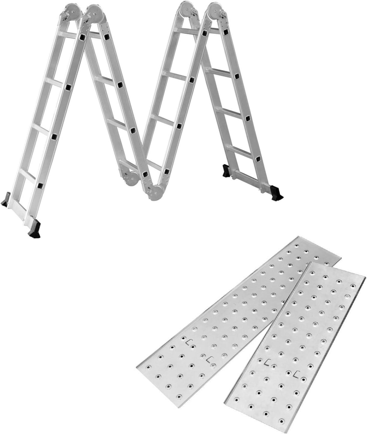 SAILUN 6 en 1 Escalera de Tijera 4.7M Escalera Multifunción Plegable Escalera Articulada con Plataforma 4x4 Escalera de aluminio Escalera combinada de alta calidad, Cargable hasta 150 kg: Amazon.es: Bricolaje y herramientas