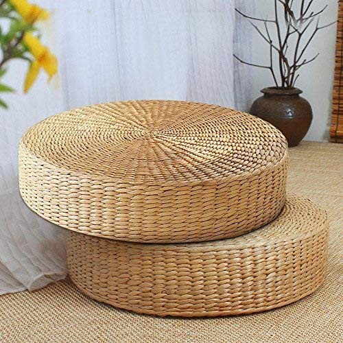 MAHAO Japanese Style Handcrafted Eco-Friendly Padded Knitted Straw Flat Seat Cushion,Hand Woven Tatami Floor Cushion Corn Maize Husk (Dia50cm/19.7'' x 10cm/4'') by MAHAO (Image #2)