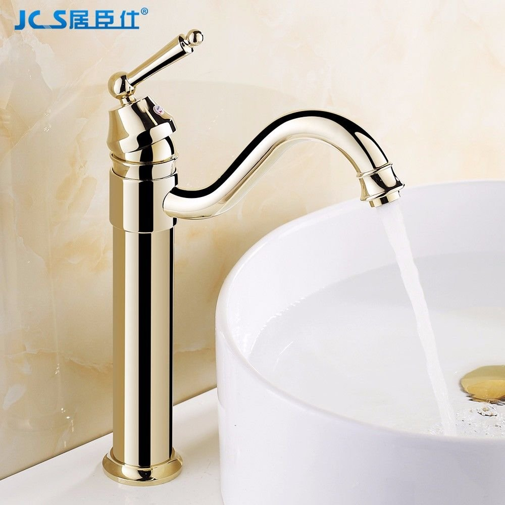 AQMMi Bathroom Sink Faucet Basin Mixer Tap gold Hot and Cold Water Brass Antique Retro Ceramic redatable Basin Sink Tap Bathroom Bar Faucet
