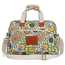 Malirona Canvas Overnight Bag Women Weekender Bag Carry On Travel Duffel Bag Floral