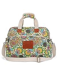 Malirona Canvas Overnight Bag Women Weekender Bag Carry On Travel Duffel Bag Floral
