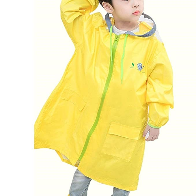 Poncho Niños Elegante Moda Anchas Chubasquero Poncho Colores Sólidos Encapuchado con Bolsillo Outdoor Chubasquero Abrigos Dama