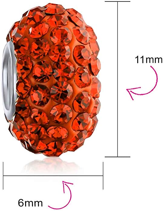 LEntretoise Cristal Charms Et Perles Core Argent Bracelet Europ/éen Pour Femme Adoles Disponible En Plusieurs Couleurs