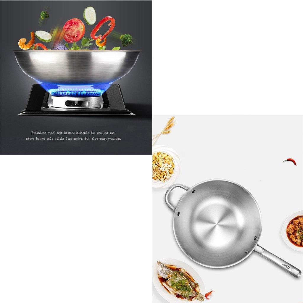 Recipientes para horno Acero Inoxidable 304 Cocina de inducción sin Humo del Wok doméstico La Longitud Total del Cuerpo de la Maceta 22 Pulgadas Cacerolas: ...