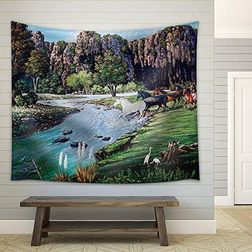 Horse Crossing The River of Oil Painting Fabric Wall