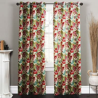 TWOPAGES® Philip Young Collection Contemporary Country Elegant Ink Painting Style Blossoms Floral 50   W x 84   L Blackout Lined Curtains Grommet Top ( 1 Panel )