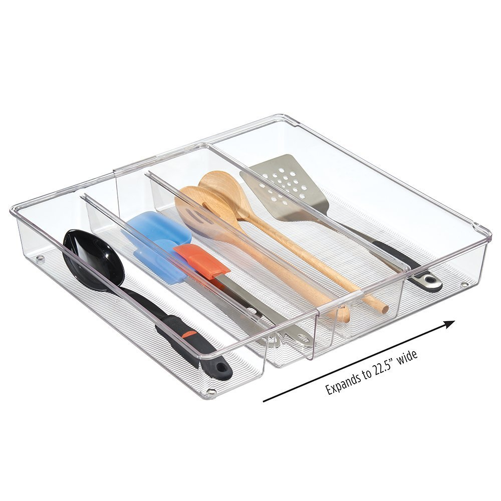 mDesign Adjustable, Expandable 4 Compartment Kitchen Cabinet Drawer Organizer Tray - Divided Sections for Cutlery, Serving, Cooking Utensils, Gadgets - BPA Free, Food Safe, 3 Deep, Pack of 2, Clear 3 Deep MetroDecor
