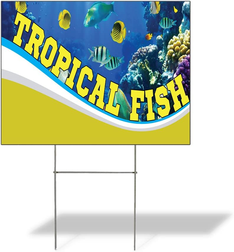 Fastasticdeals Weatherproof Yard Sign Tropical Fish Outdoor Advertising Printing B Blue Lawn Garden Seafood Market Monger 24x18 Inches 1 Side Print