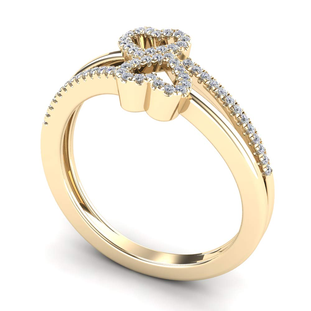 JewelAngel 10K Yellow Gold 1//6 Carat TDW Diamond Double Heart Fashion Ring H-I, I1-I2