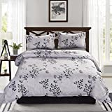 Black and White Duvet Covers 3 Piece Duvet Cover and Pillow Shams Comforter Set, Hypoallergenic Breathable Soft Microfiber Duvet Cover in Black and White with Hidden Zipper and Tieback (Queen)