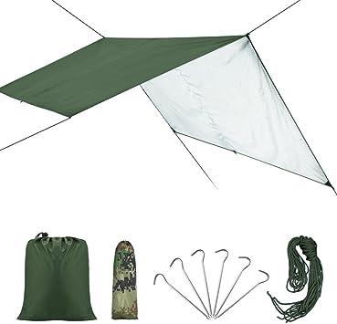 VGEBY Toldo de Refugio Impermeable, Toldo de Lona Resistente al Agua y Rayos UV Portable Ligero, Lona de Tienda para Camping Senderismo al Aire Libre