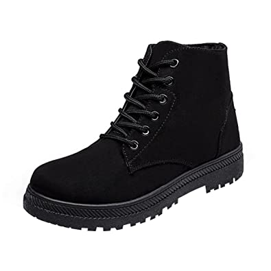 YELLOW AND TREE Women's Fur Winter Snow Boots Cute Lace up Flat Platform Ankle Booties Sneakers Boots Red Size 7.5