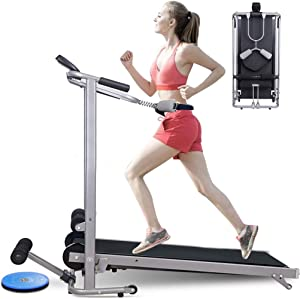 ZANFUN 4-in-1 Foldable Treadmill with Incline for Home Gym Exercise Equipment Portable Small Treadmill for Walking Running Supine Twisting Massage Weight Loss Fitness Treadmills for Small Spaces