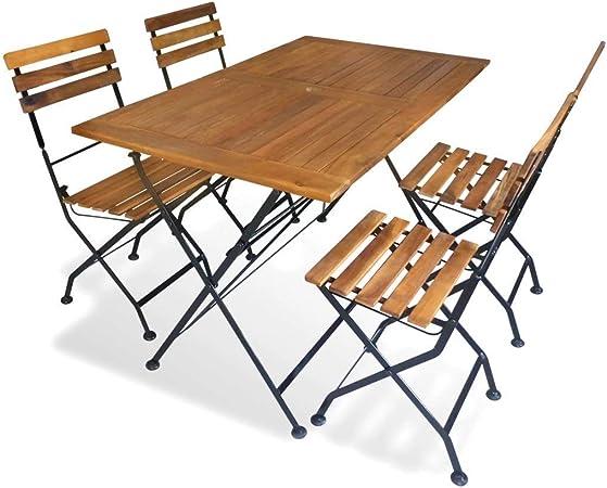 Festnight Salon de Jardin Pliable en Bois d\'acacia 1 Table ...