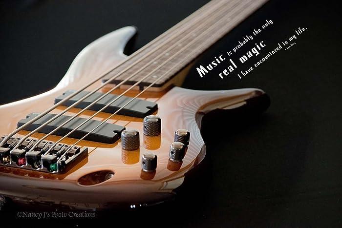 Bass Guitar Photographic Print Unframed Music Room Decor Man Cave Wall Art Musical Instrument Photography Tom