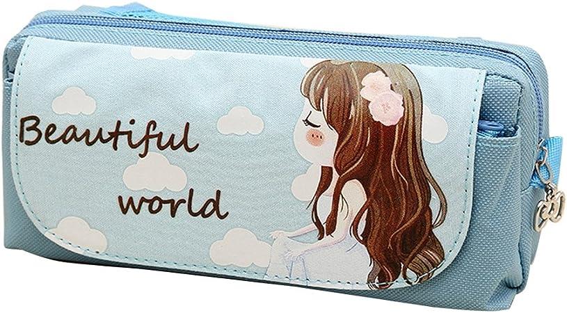 Estuche escolar o para cosméticos para niña, de Tininna, diseño con dibujo de niña: Amazon.es: Hogar
