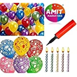 Amit Marketing Metallic HD Large Balloons For Happy Birthday With Candels And Air Pump (Pack Of 76)