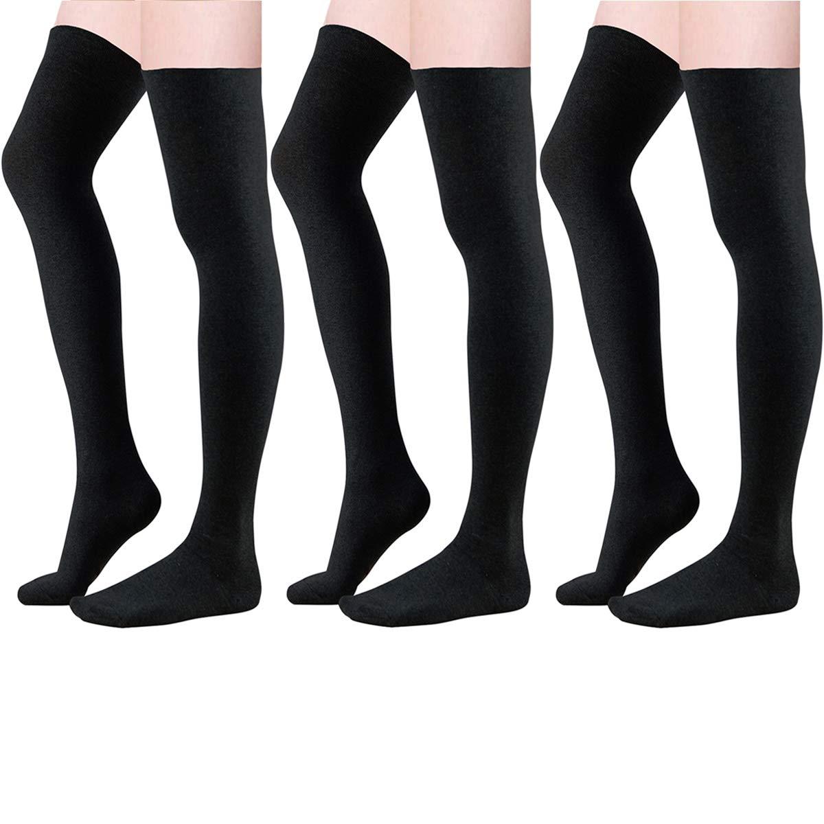 Century Star Women Girls Basic Classical Cosplay Knit Long Knitted Basic Thigh High Stocking Socks 3 Pairs Black