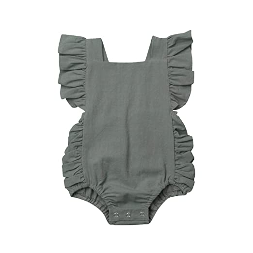ba4ef2549 Amazon.com: nanzhushangmao Newborn Baby Girl Romper Bodysuits Cotton  Flutter Sleeve One Piece Romper Outfits Clothes: Clothing