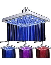 """Alcachofa de Ducha, Tfheey Brand sensor de temperatura 3 cambio de color 7.8 Inch Square Spray flujo de agua alimentado por ABS cromado acabado 12 LED para Cuarto de baño (7.87"""" x 7.87"""", 3 Color Cambio)"""