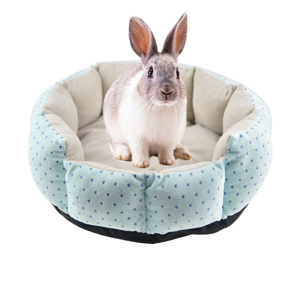 FLAdorepet Rabbit Guinea Pig Cat House Bed Mat Cushion Winter Warm Squirrel Hedgehog Chinchilla Hamster Bed House Cage Nest Rabbit Supplier (M(12.5inch), Blue)