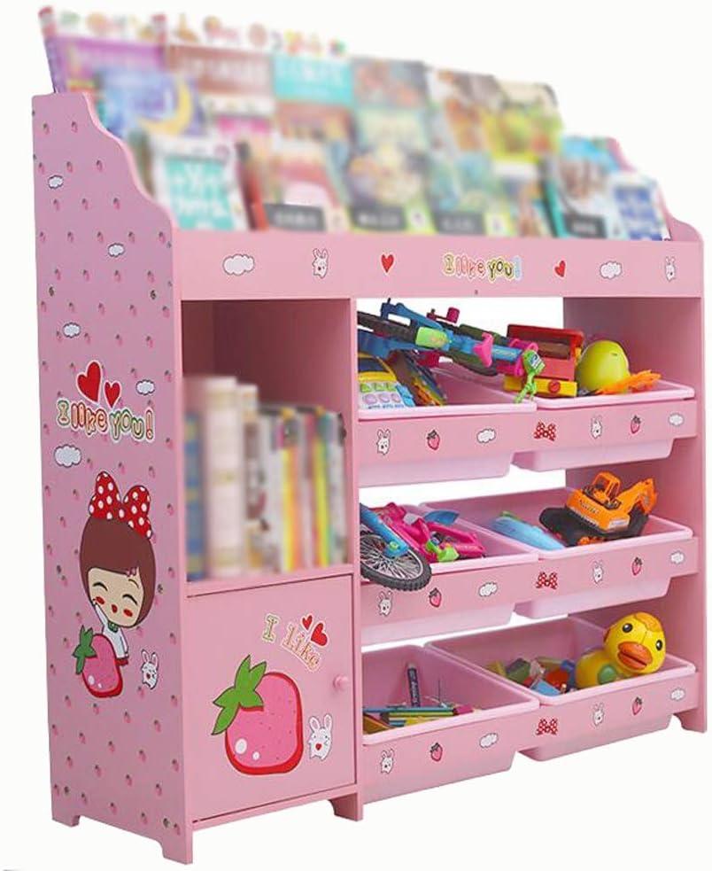 おもちゃラック 女の子のプレイルームの寝室のおもちゃ収納ラックオーガナイザーボックスディスプレイキャビネット - ピンク - 114 * 30 * 110 CM (Color : Pink, Size : 114*30*110cm)