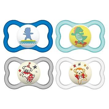 extra leichtes und luftiges Schilddesign blau MAM Air Silikon Schnuller im 2er-Set 6-16 Monate zahnfreundlicher Baby Schnuller aus speziellem MAM SkinSoft Silikon mit Schnullerbox