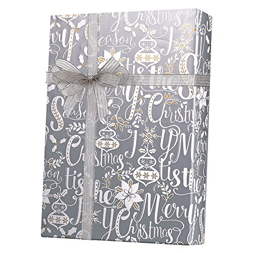 Metallic Gold Silver Scripted Christmas Gift Wrap Paper - 15...