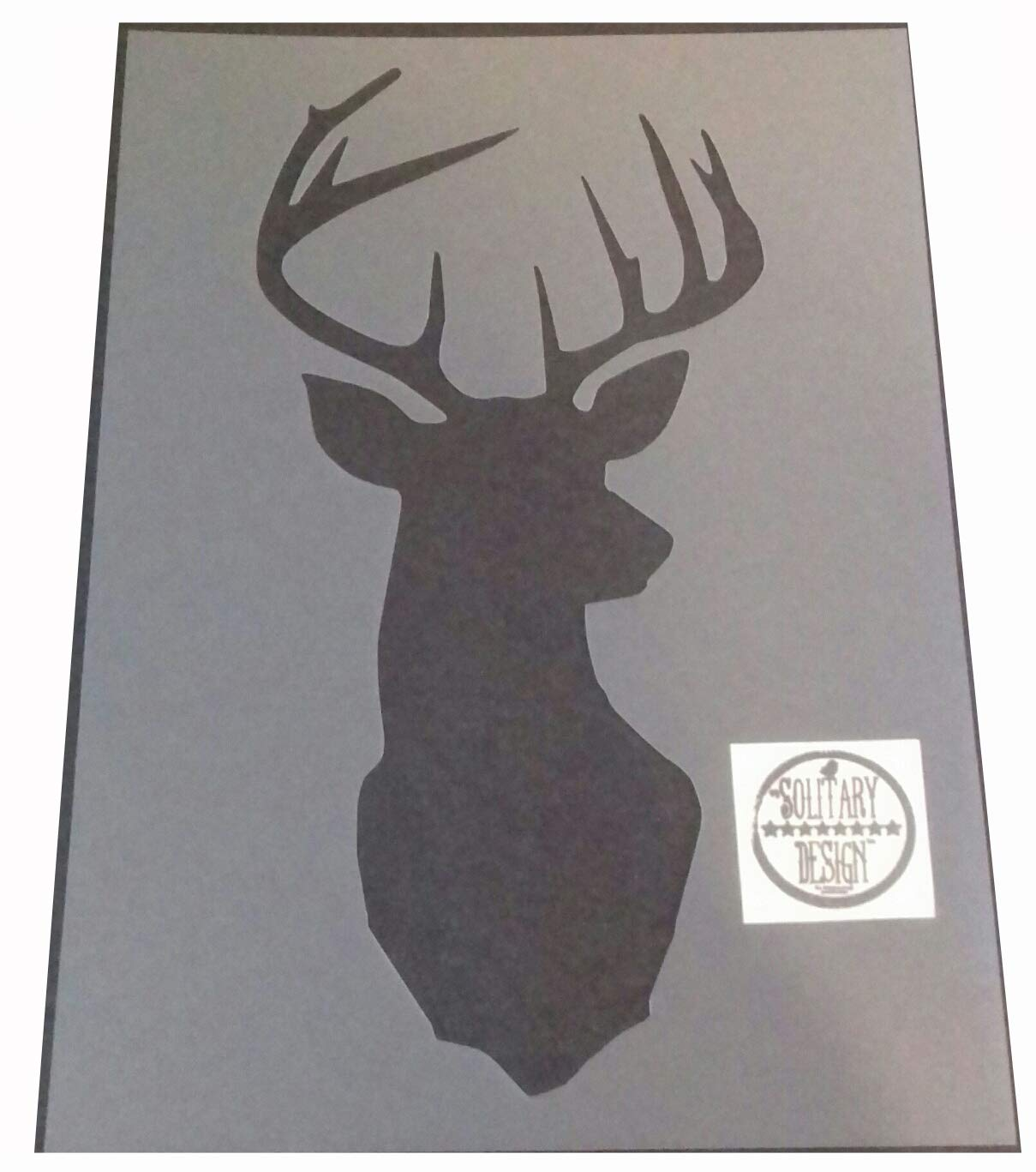 Solitarydesign Shabby Chic Stencil Stag Deer Head Rustic Mylar Vintage style A4 297x210mm wall art