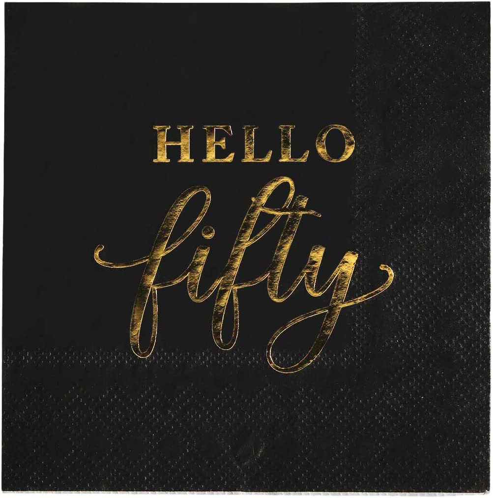 Andaz Press Black with Gold Scripted Hello Fifty Saying Cocktail Napkins, Bulk 100-Pack Count 3-Ply Disposable Fun Beverage Napkins for 50th Birthday, 50th Anniversary Party Supplies, Decorations