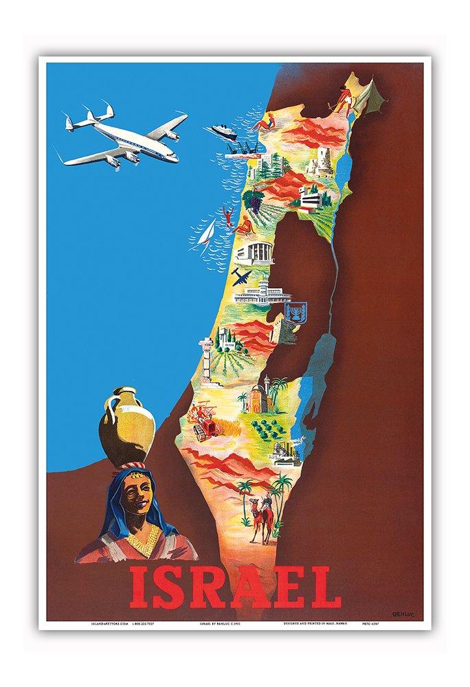 イスラエル - テルアビブ、エルサレム - ビンテージな航空会社のポスター