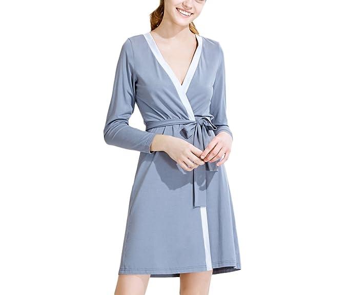 RENHONG Verano De Las Mujeres Modal Vestidos De Hielo Pijamas Algodón De Primavera Albornoces Adelgaza Ropa