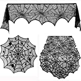 SinoZeal 3 Pieces Halloween Lace Spiderweb Tablecloth Fireplace Mantle Table Runner Round Spider Web Table Cover Topper for Halloween Home Party Decorations, 3 Sizes