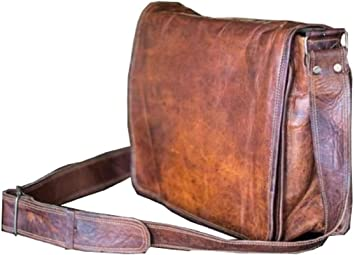 Men/'s Vintage Brown Leather Full Flap Messenger Laptop Satchel Shoulder Bag