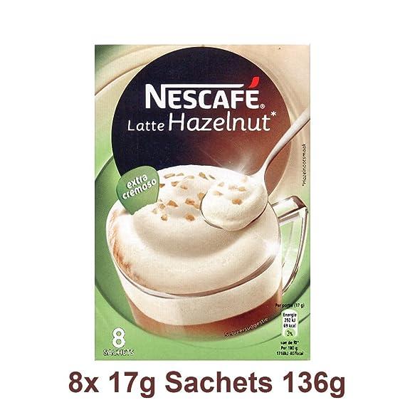 Nescafe | Café instantáneo | Latte Hazelnut | 8 palos por paquete 136gr/4.80oz