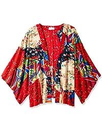 b273a8dd7f2 Orchid Row s Kimono Printed Chiffon Open Front